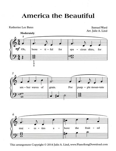 America The Beautiful Free Level 2 Piano Sheet Music For