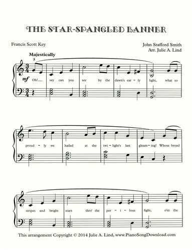 The Star Spangled Banner Free Intermediate Piano Sheet Music With Lyrics