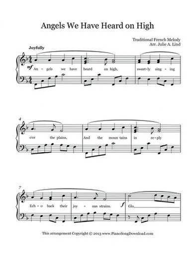 Angels We Have Heard On High Free Piano Christmas Sheet Music For