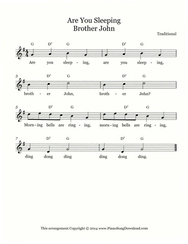 Are You Sleeping - Brother John - Free Lead Sheet with melody ...