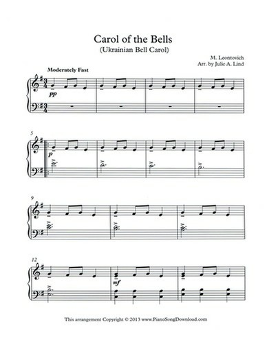 carol of the bells free piano music - Free Christmas Piano Sheet Music