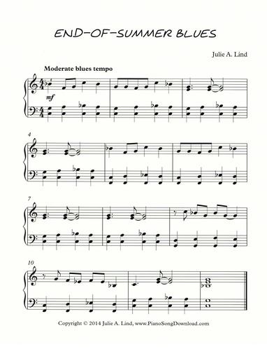 End-of-Summer Blues: free early intermediate piano sheet music