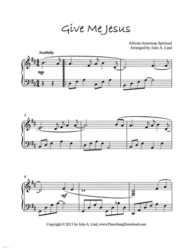 Give Me Jesus: free intermediate piano hymn arrangement by