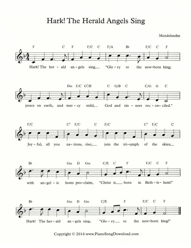 Hark the Herald Angels Sing: Free Lead Sheet with melody, lyrics and ...