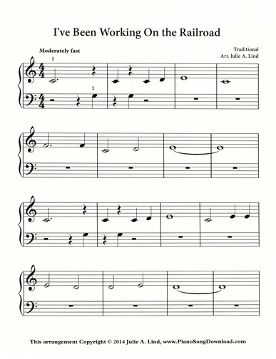 I've been working on the Railroad | Free easy Piano Sheet Music to print