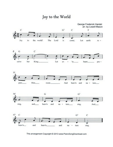 Joy to the World: free Christmas lead sheet with melody, chords and ...