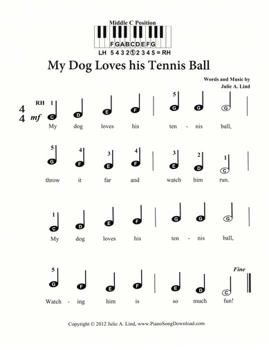 My Dog Loves His Tennis Ball | Free pre staff beginning Piano music
