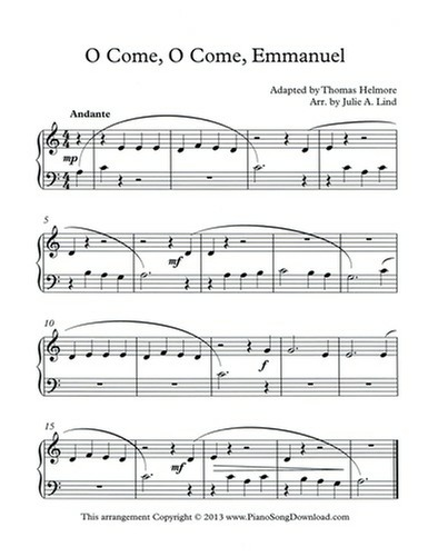 O Come, O Come, Emmanuel: free easy Christmas piano sheet music