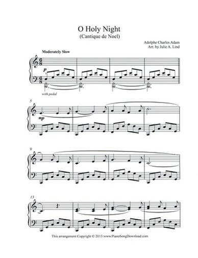 o holy night cantique de noel free piano sheet music - Free Christmas Piano Sheet Music