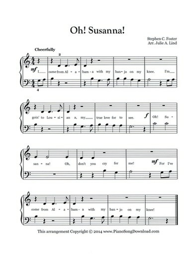 Oh Susanna: Free easy Sheet Music for piano with lyrics