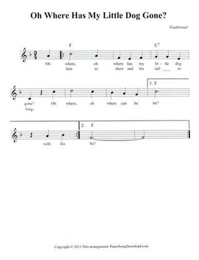 Oh Where Has My Little Dog Gone - free lead sheet with melody ...