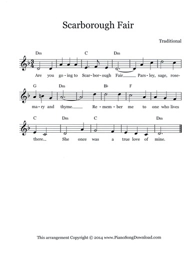 Scarborough Fair: free lead sheet with melody, chords and lyrics