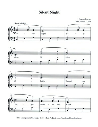 Silent Night Free Level 2 Christmas Piano Sheet Music With Lyrics