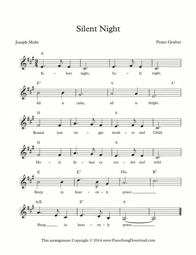 Silent Night: Christmas free lead sheet with melody, chords and lyrics