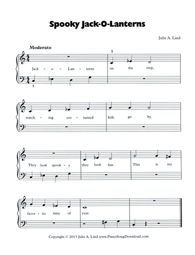 Spooky Jack-O-Lanterns: free easy Halloween piano sheet music