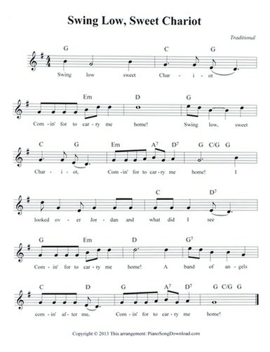 Swing Low Sweet Chariot: free hymn lead sheet with melody
