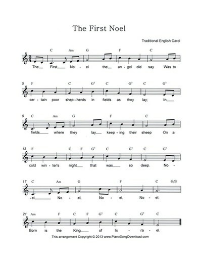 the first noel: free christmas lead sheet with melody, chords and lyrics  piano song download