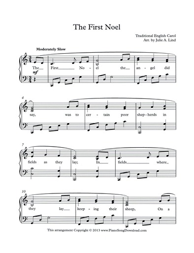 The First Noel Free Piano Music