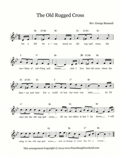 graphic regarding Old Rugged Cross Printable Sheet Music named The Previous Rugged Cross: absolutely free hymn contribute sheet with melody