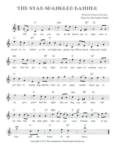 The Star Spangled Banner: free lead sheet with melody, chords and lyrics