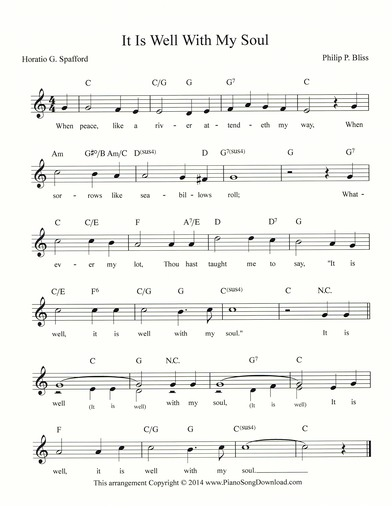 It Is Well With My Soul Free Hymn Lead Sheet With Melody Chords