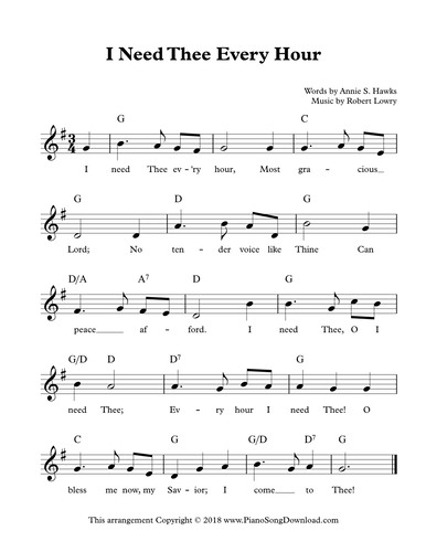 I Need Thee Every Hour: Free Hymn Lead Sheet with melody