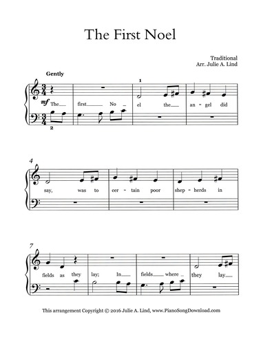 photograph relating to Free Printable Christmas Sheet Music for Piano referred to as The Very first Noel : Totally free straightforward Xmas piano sheet tunes with