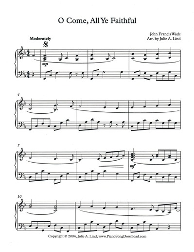 o come all ye faithful free intermediate christmas piano sheet music. Black Bedroom Furniture Sets. Home Design Ideas