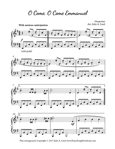 O Come, O Come, Emmanuel: free piano Christmas sheet music for late ...