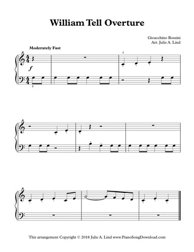 William Tell Overture - free easy classical piano sheet