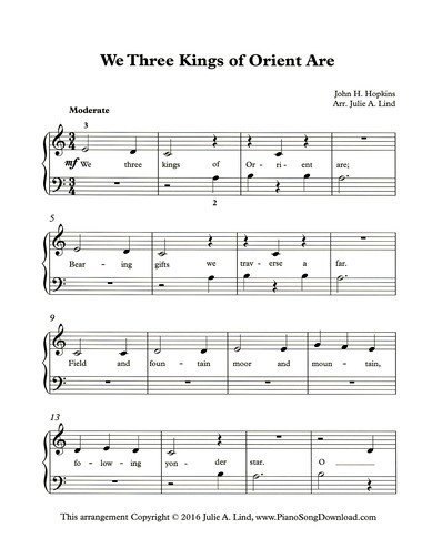 We Three Kings Of Orient Are Free Easy Christmas Piano Sheet Music