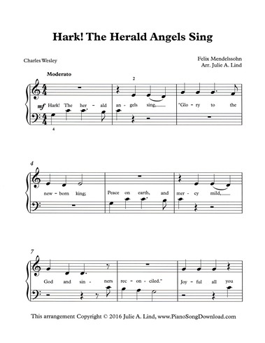 Hark The Herald Angels Sing Easy Pdf Christmas Piano Sheet
