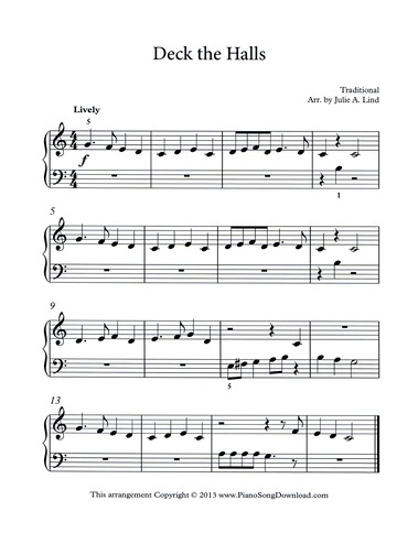 Deck The Halls Free Easy Piano Sheet Music
