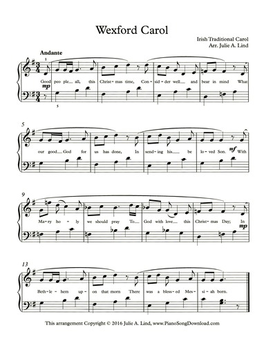 picture about Christmas Carols Sheet Music Free Printable named Wexford Carolr: free of charge early intermediate Xmas piano