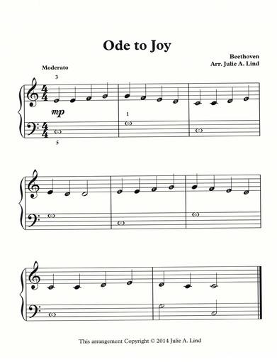 Ode To Joy Free Beginning Sheet Music For Piano