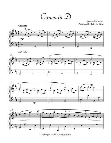 Canon In D Arranged By Julie Lind