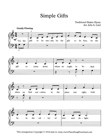 Simple Gifts Free Easy Hymn Sheet Music For Piano With Lyrics
