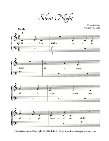 Silent Night Free Easy Christmas Piano Sheet Music With Lyrics