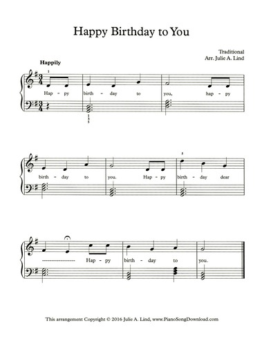 Happy Birthday Free Easy Piano Sheet Music With Chords And