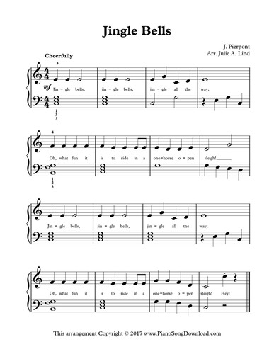 Jingle Bells Free Level 2 Christmas Piano Sheet Music With Chords