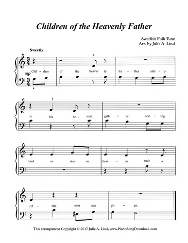 Children Of The Heavenly Father Free Easy Hymn Sheet Music