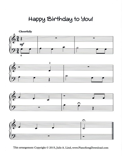 Happy Birthday To You Free Easy Piano Sheet Music