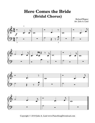 Here Comes The Bride Bridal Chorus Free Easy Piano Sheet Music