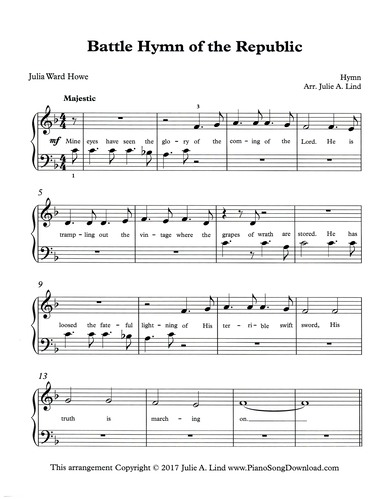photo relating to Printable Hymns Sheet Music referred to as Combat Hymn of the Republic: absolutely free simple printable patriotic