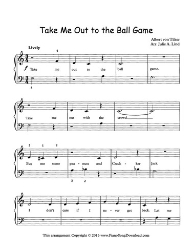 Take Me Out To The Ball Game Free Easy Piano Sheet Music With Words