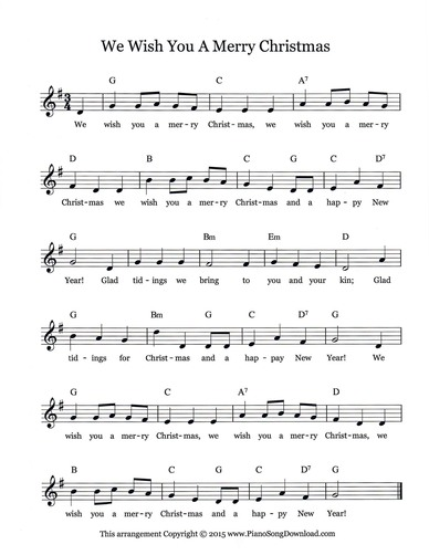 Piano piano tabs we wish you merry christmas : We Wish You A Merry Christmas - Free Christmas Lead Sheet from ...