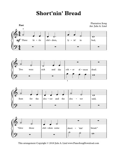Short'nin' Bread: free easy piano sheet music with words