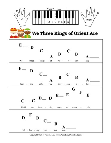 Piano Christmas Music.We Three Kings Of Orient Are Pre Staff With Letters