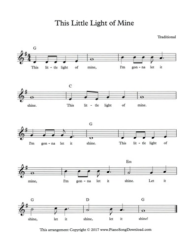 This Little Light Of Mine: Free Hymn Lead Sheet With Melody, Chords And  Lyrics