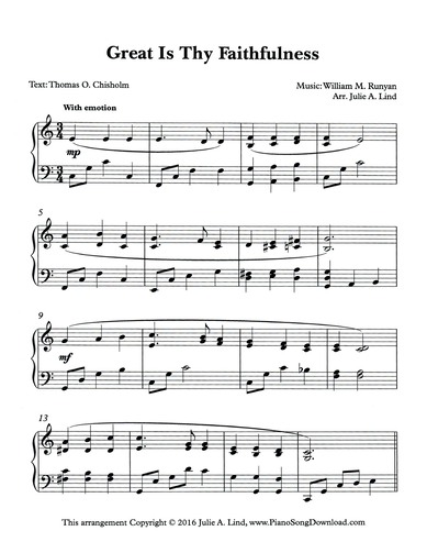 Great is Thy Faithfulness: free intermediate hymn piano sheet music